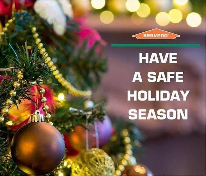 "Next to a decorated Christmas tree is the SERVPRO logo and text reading ""Have a Safe Holiday Season"""